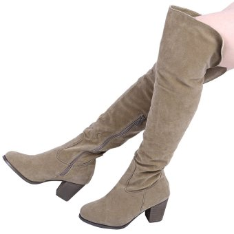 Stylish Pure Color Zipper Design Ladies Thick High Heel Knee Boots(Apricot) - intl
