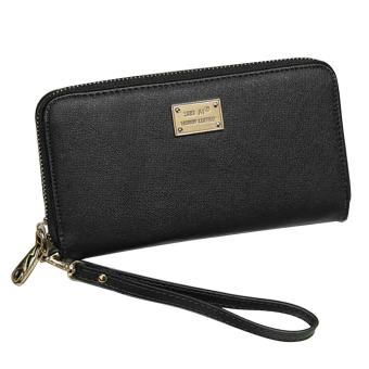 Women Girl Lady Zipper PU Leather Long Clutch Wallet Purse with Card Holder Money Bag Solid Color Black - intl