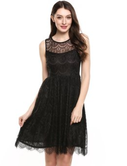 Linemart New Women Casual O-Neck Sleeveless Floral Lace Tunic Tank Lace A-Line Pleated Wave Hem Dress with Lining ( Black )(Int:XXL)(OVERSEAS) - intl
