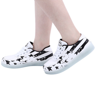 Stylish Luminous USB Charged LED Lace Up Male Sneakers(White) - intl