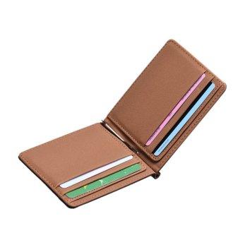 Mens Leather Silver Money Clip Slim Wallets Black ID Credit Card Holder Brown