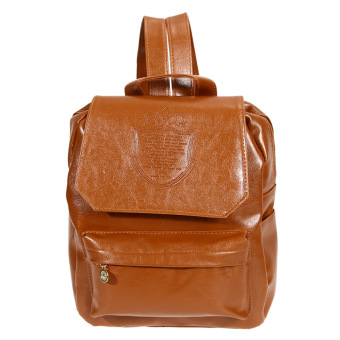 Girls PU Leather Backpack (Brown)