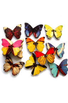 50pcs Mixed Color Butterfly 28mm Wooden Shrit Button Clothing Sewing Buttons for Shirts Baby Sweaters