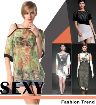Sunweb Finejo Women Sexy One Shoulder Mesh Chiffon Semi Sheer Peacock Printed Shirt Tops ( Black ) - intl