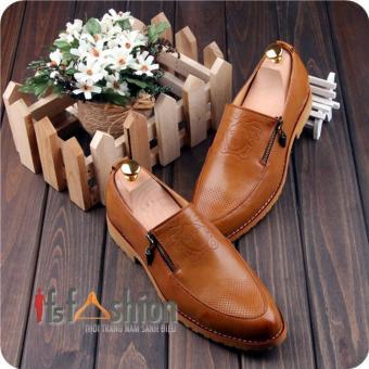 Giày Lười Nam Hàn Quốc Màu Nâu Bò Logo Versace Có Khoá Bên Hông , Mã Sản Phẩm HQ101