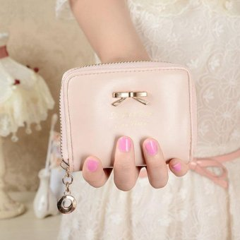 Women Fashion Cute Purse Clutch Wallet Short Small Bag PU Card Holder Pink - intl