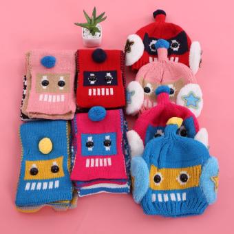 Mũ và khăn len ấm áp cho bé yêu hình robot (Xanh)