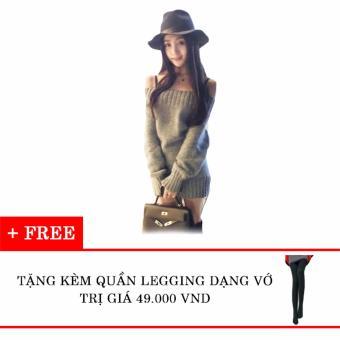 Đầm len tay dài trễ vai tặng kèm quần legging dạng vớ Kmfashion