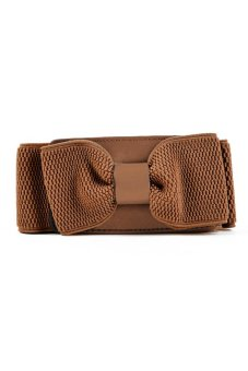 Bowknot Elastic Belt with Buckle Waistband (Brown)