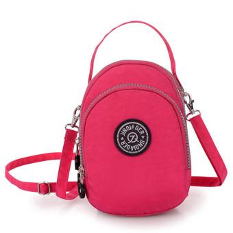 Waterproof Nylon Handbag Shoulder Diagonal Bag Messenger Bag Hot Pink - Intl
