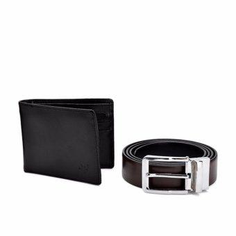 Bộ ví và dây lưng hai mặt ICHI (Đen)