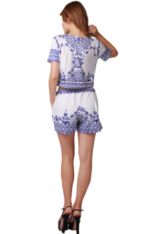 LALANG Porcelain Designed Top with Short (Blue/White)