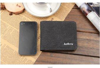 Solid Color Horizontal Canvas Wallet Unisex(Black) - intl