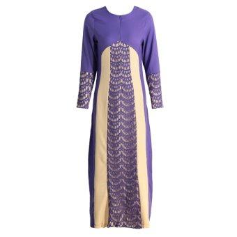 New Fashion Women Muslim Maxi Dress Contrast Color Pitches Long Sleeve Abaya Kaftan Islamic Indonesia Robe Long Dress Purple - intl