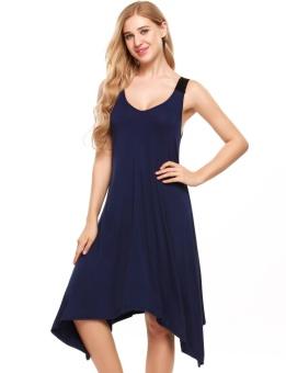 Cyber Womens Sleeveless Pajamas Solid V Neck Nightgown Sleepwear Asymmetrical Mini Dress ( Navy Blue ) - intl