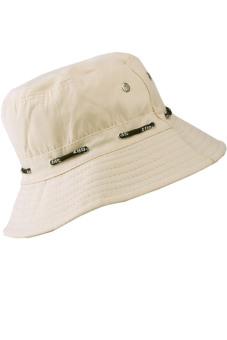 Unisex Adults Canvas Sun Protection Bucket Hat Cap Beige