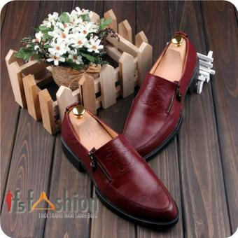 Giày Lười Nam Hàn Quốc Màu Nâu Đỏ Logo Versace Có Khoá Bên Hông Model 2016 Mã Sản Phẩm HQ102