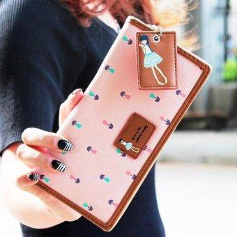 Moonar Fashion women PU leather floral zipper long wallet purse (pink) - intl