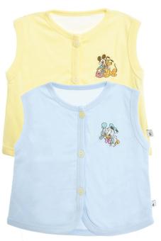 Bộ 2 áo khỉ thêu trẻ em Nanio A0003-Vxd (Vàng Xanh Đậm)