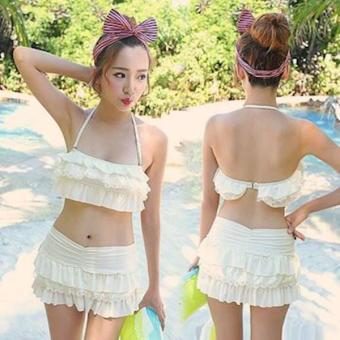 Bikini Set Áo Và Váy Nhún Màu TrắNg.