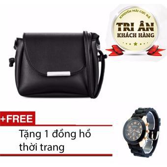 Túi đeo chéo Simili ( Đen) & Tặng đồng hồ thời trang