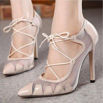 Giày cao gót xuyên thấu phối dây cho bạn gái thêm phần bí ẩn- 111 (kem)