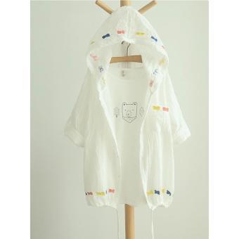 Áo khoác nữ mỏng trắng thêu hình nơ LTTA127