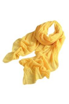 Bluelans Women's Long Cotton Linen Wrap Scarf Shawl Solid Color Stole Pashmina Yellow (Intl)