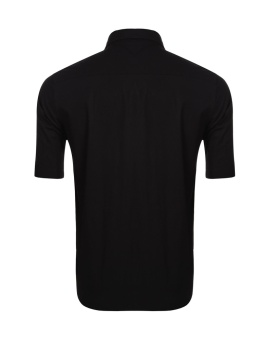 Cyber Men Short Sleeve Casual Solid Button Front Shirt with Pockets ( Black ) - intl