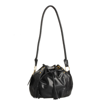 Trendy Tassel Hobo Bag Shoulder Bag Messenger Bag for Women Girls Black - intl