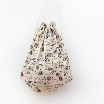 Fashion Women Fresh Backpack Canvas Handbag Totes Shopper Travel Bags Beige - intl