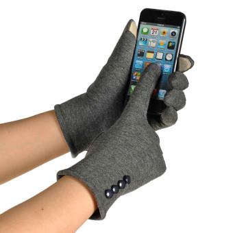 Women Touch Screen Winter Warm Wrist Gloves Mittens Gray (Intl)