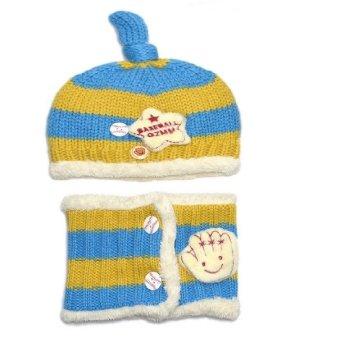 Mũ len lót lông cho bé ML15 (Vàng xanh)