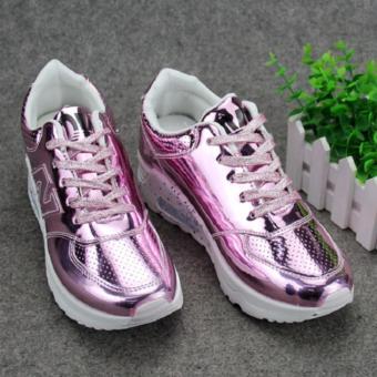 Giày thể thao nữ, đế cao phối màu, da PU cao cấp.hàng nhập . màu hồng