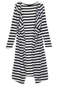 Cyber Women Full Long Sleeve Drape Collar Maxi Long Casual Cardigan Black/ White - Intl
