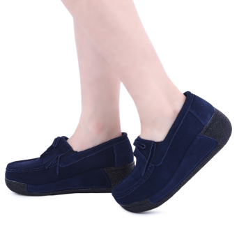 Bowknot Suede Comfortable Wedge Shoes(Deep Blue) - intl