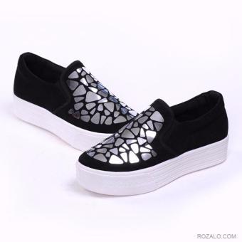Giày lười slip on nữ đế cao Rozalo RWG2417BS-Đen Bạc