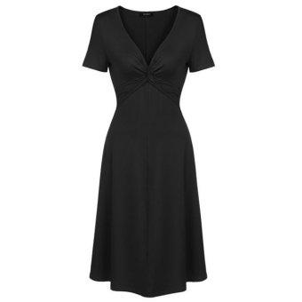 Cyber Zeagoo V-Neck Short Sleeve Empire Waist Knee Length A-Line Skater Dress (Black) - Intl - Intl