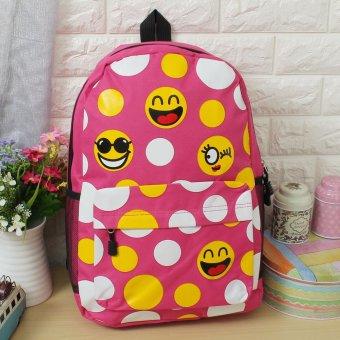 Women Girls Funny Emoji Smiley Face School Book Bag Backpack Shoulder Rucksack Rose Red - intl