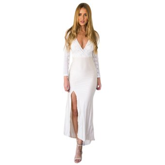 Zaful Deep V Long Dress Lace Stitching High Split Connect(White) - Intl