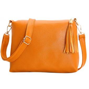 New Fashion Women PU Leather Lady Tassel Leisure Bag Shoulder Crossbody Bag(Yellow) - intl