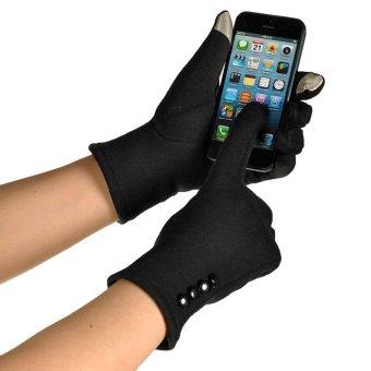 Women Touch Screen Winter Warm Wrist Gloves Mittens Black
