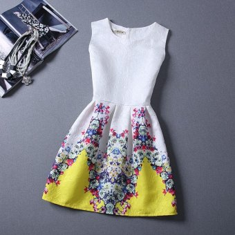 Women Ball Gown Dress A-Line Round Collar Floral Print (Yellow) - intl