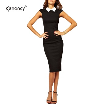 Kenancy Womens Elegant Shirt Turn-Down Collar Cap Sleeve Sheath Bodycon Slim Office Work Dress Stretch Midi Pencil Dress - intl