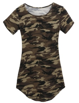 Cyber New Women Casual O-Neck Short Sleeve Camouflage Mini Package Hip Dress ( Amy Green ) - intl