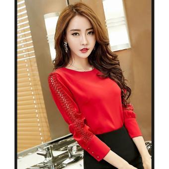Áo kiểu cổ tròn phối ren tay cách điệu DOLLY BEYEU1688 - BY6125(Đỏ)