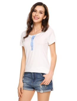 Cyber Women Casual Short Sleeve O Neck Contrast Color Tops T-Shirt ( White ) - intl