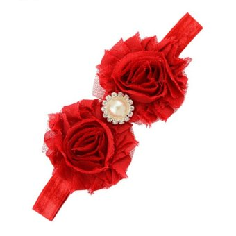 DHS Pearl Rhinestone Flower Headband (Red) - intl