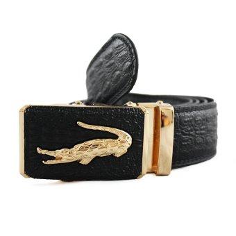 Thắt lưng cá sấu VT52D mặt khóa (Đen)