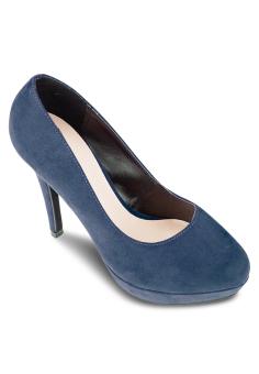 Giày Cao Gót Bít Đúp Tròn 12cm (Xanh)